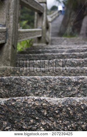 Stone Steep Steps . Trekking Walking Hiking Huangshan Mountain. Anhui, China. April 2009
