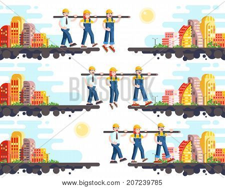 Stock vector illustration of business process building and mutual assistance, teambuilding management or teamwork, three workers working, strategy of successful start-up flat style on white background