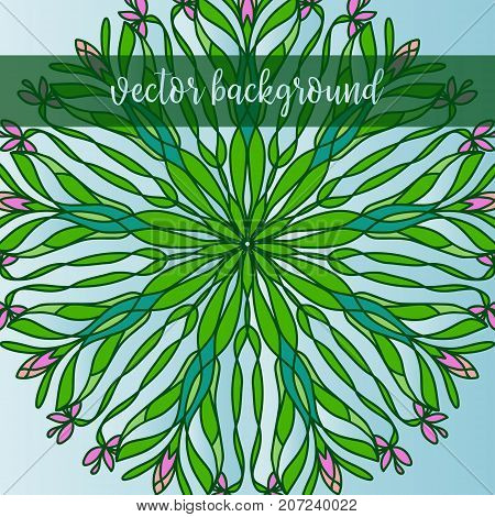 Vector nature decor for your design with flowers. Vector round mandala in childish style. Ornamental doodle background