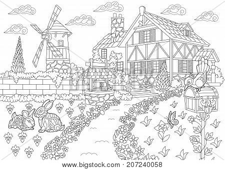 Coloring page of rural landscape. Farm house windmill water well mail box rabbits and woodpecker bird. Freehand sketch drawing for adult antistress coloring book in zentangle style.