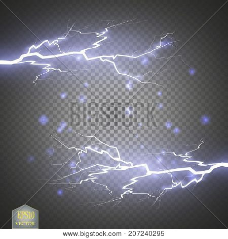Blue abstract energy shock explosion special light effect with spark. Vector glow power lightning cluster. Electric discharge on transparent background. High voltage charged core. Vector
