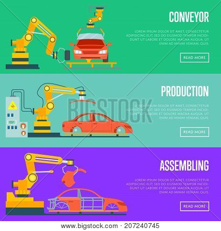 Conveyor for assembly of cars concept. Modern engineering systems, automobile production line, car manufacturing process. Factory with smart robotic automotive assembly line vector illustration.