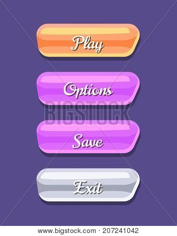 Cartoon board for computer game menu interface. Play, save, options and exit original buttons. Bright user design set, app graphical user interface, navigation objects isolated vector illustration.