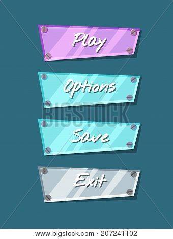 Cool shiny computer game menu interface collection. Play, save, options and exit cartoon buttons. Bright user design set, app graphical user interface, navigation objects isolated vector illustration.