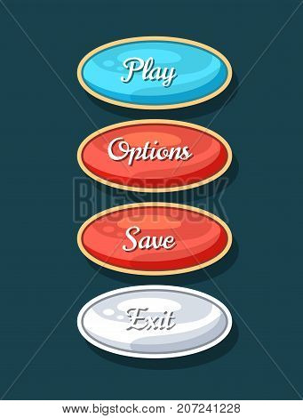 Creative navigation board for computer game menu. Play, save, options and exit cartoon buttons. Bright user design set, app graphical user interface, navigation objects isolated vector illustration.