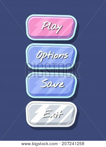 Glossy colorful computer game menu interface set. Play, save, options and exit cartoon buttons. Bright user design, app graphical user interface, navigation objects isolated vector illustration.