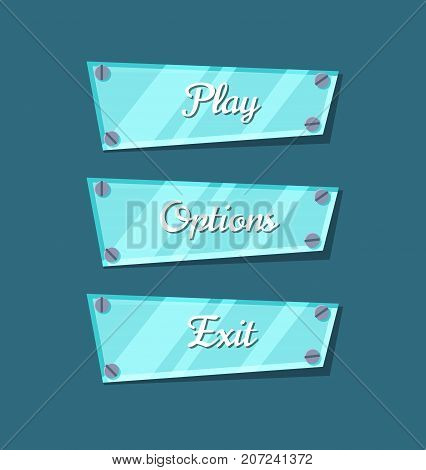 Computer game menu interface cartoon collection. Play, options and exit original buttons. Bright user design set, app graphical user interface, navigation objects isolated vector illustration.