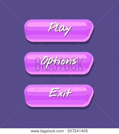 Cool shiny computer game menu interface collection. Play, options and exit cartoon buttons. Bright user design set, app graphical user interface, navigation objects isolated vector illustration.