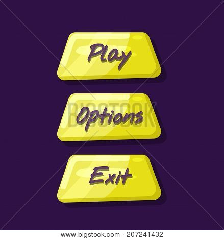 Computer game menu navigation objects collection. Play, options and exit cartoon buttons. Bright user design set, app graphical user menu interface isolated vector illustration.