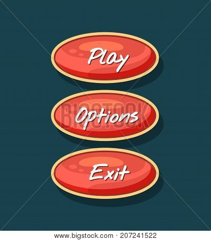 Creative navigation board for computer game menu. Play, options and exit cartoon oval buttons. Bright user design set, app graphical user interface, navigation objects isolated vector illustration.
