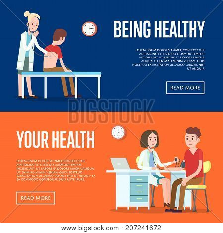 Medical examination and healthcare posters. Modern clinical analysis and patient treatment, hospital procedure, medical diagnostic tests banner. Doctor visit in clinic vector illustration