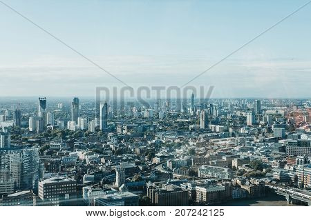 LONDON, UK - SEPTEMBER 30, 2017: London Skyline seen from Sky Garden, the highest public garden in London