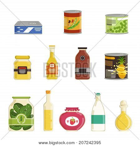Cartoon canned goods set. Tinned juices, fruit, berries, fish, sauces, vegetables conservation. Preserve food in metal tin and glass jar with labels. Flat design. Vector illustration isolated on white