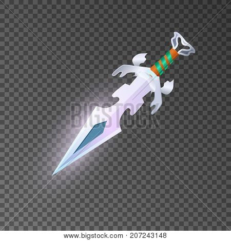 Magic dagger isolated game element. Shiny medieval weapon for computer game design. Fight decoration, fantasy battle object vector illustration.