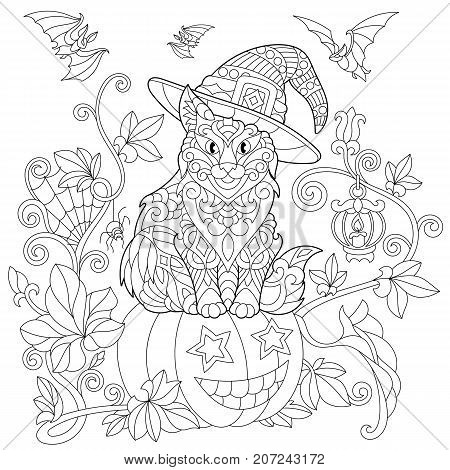 Coloring page of cat in a hat sitting on a halloween pumpkin flying bats spider web lantern with a candle. Freehand sketch drawing for adult antistress coloring book in zentangle style.