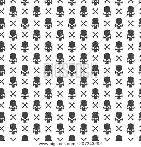 Halloween pattern vector design for background, wrapping paper, greeting card. Sculls and bones objects illustration.