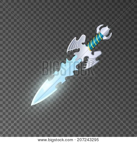 Epic dagger isolated game element. Shiny medieval weapon for computer game design. Fight decoration, fantasy battle object vector illustration.