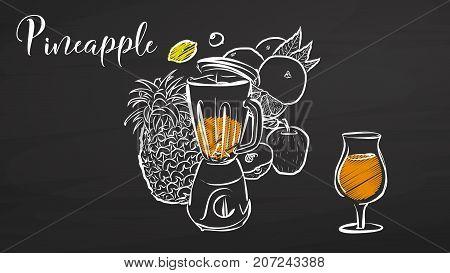 Pineapple Smootie Scene On Chalkboard