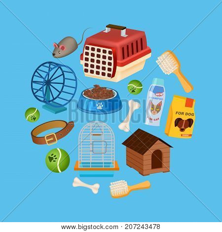 Pet shop background in cartoon style. Pet store backdrop with animal preserved food, toys and vet care accessories. Veterinary clinic and homeless animals shelter vector illustration template.