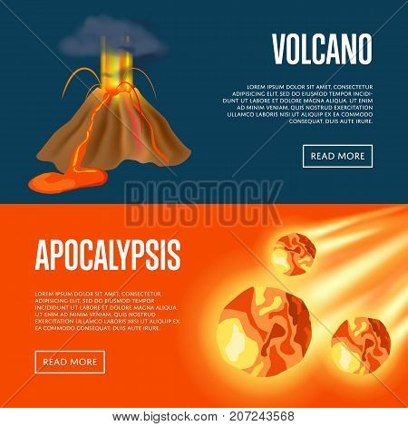 Volcanic eruption and meteorite apocalypse banners. Natural disaster, destructional world catastrophe, extreme weather. Warning about emergency situation vector illustration in cartoon style.