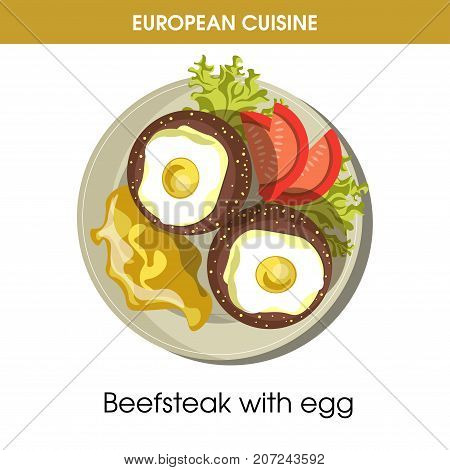 European cuisine beefsteak or meet steak with egg traditional dish with vegetables grill fried garnish on plate. Vector flat isolated icon for Europe restaurant menu or cooking recipe template