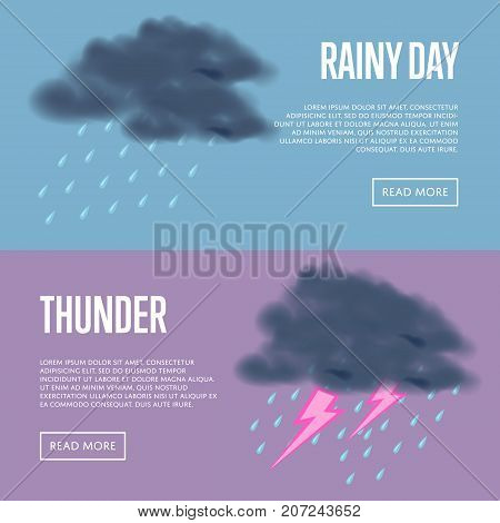 Rainy day and thunder with lightning banners. Natural disaster, thunderstorm and thunderbolt, dangerous weather and extreme climate. Warning about emergency situation vector illustration