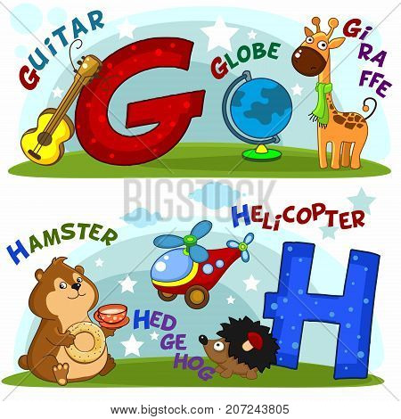 English alphabet with letters g and h and pictures to them