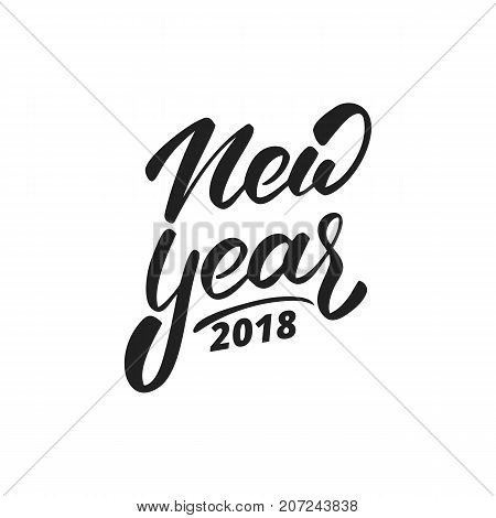 New Year 2018. Hand drawn logo for New Year card, poster, design etc. Happy New Year 2018 hand lettering