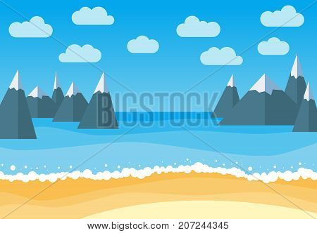 Vector landscape with summer beach and rocks. Waves of the sandy beach blue sky sea and mountains. Landscape vector illustration.