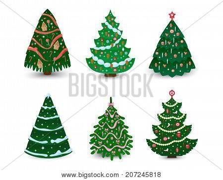 Christmas tree vector ornament star xmas gift design holiday celebration winter season party plant. Vector ball season decorative shiny festive bright card symbol.