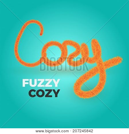 Cozy vector text in fuzzy style. Fluffy and furry letters in bright warm colors. Illustration for your design.