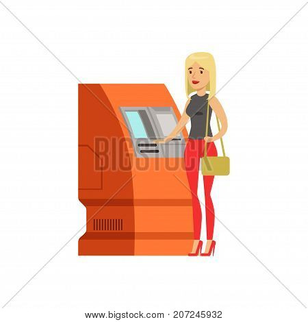 Woman doing ATM machine money deposit or withdrawal vector Illustration isolated on a white background