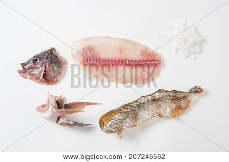 Components of Thai Tilapia (Tilapia nilotica) including head meat skin stomach and scale dismantling on white background