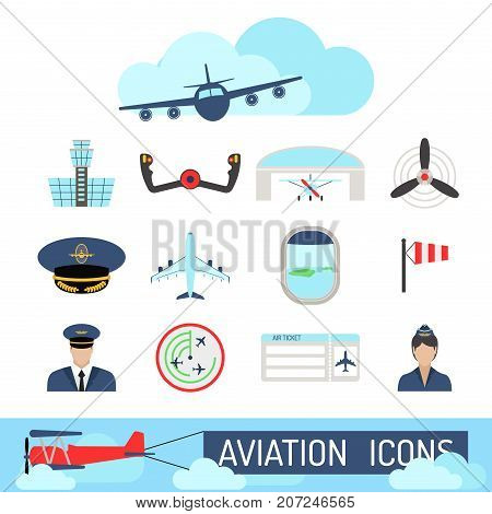 Aviation icons vector set airline graphic illustration station stewardess concept airport symbols departure terminal plane. Transport business flight tourism vector.