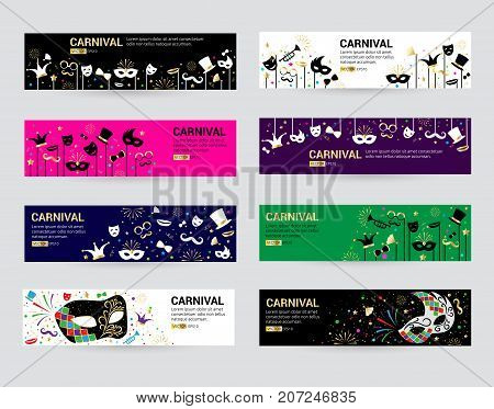 Horizontal carnival web banner masks celebration festive carnaval masquerade background festival flyer vector illustration. Costume mardi gras poster invitation.