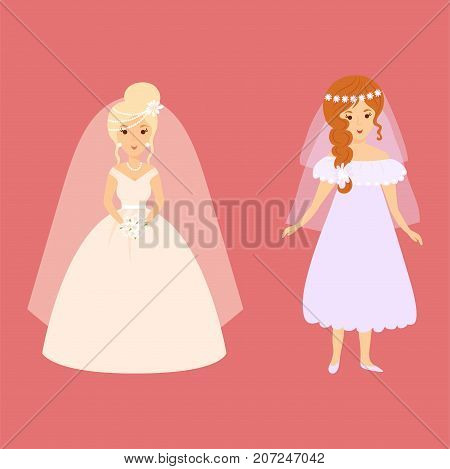 Wedding brides characters vector illustration. Celebration fashion woman cartoon girl white ceremony dress. Romance veil woman ceremony marriage love beautiful wear.