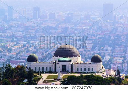 October 3, 2017 in Los Angeles, CA:  Historic Griffith Observatory which opened in 1935 taken at Griffith Park where people can experience exhibits, planetarium shows, and giant telescopes while overlooking the city taken in Los Angeles, CA