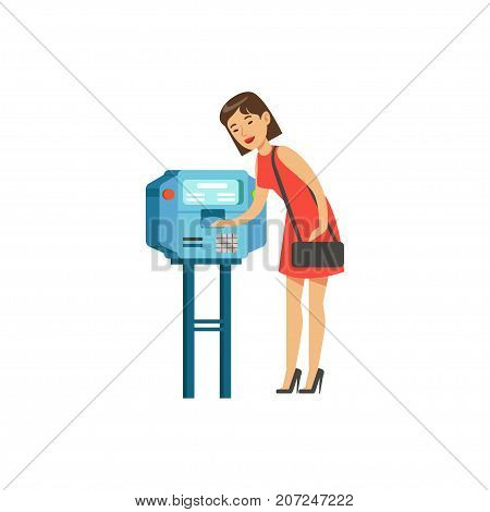 Woman using automatic vending machine, people carrying out operations with terminal vector Illustration isolated on a white background