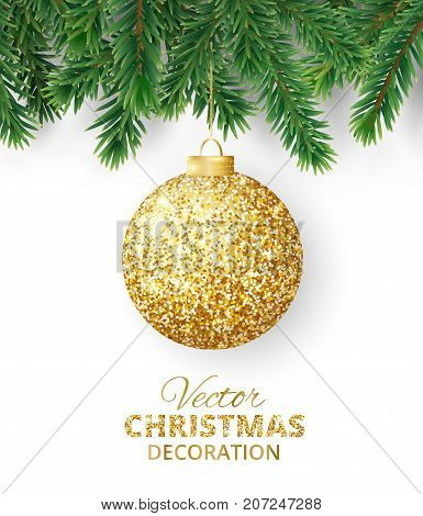 Background with vector christmas tree branches and hanging christmas ball. Realistic fir-tree border, frame isolated on white. Great for christmas cards, banners, flyers, party posters.