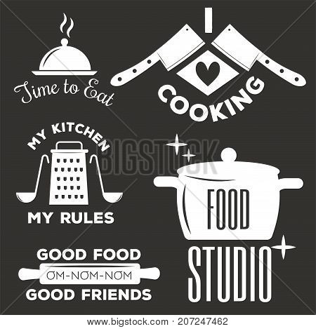 Bakery shop logos, badges and labels design elements set. Bread cake cafe vintage style classic kitchen retro vector. Cooking logo shop restaurant stamp typography.