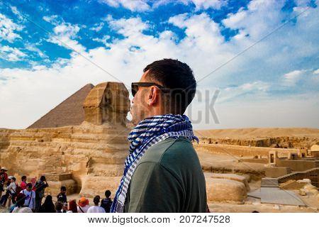 Sphinx guarding the pyramids in Giza. Cairo, Egypt