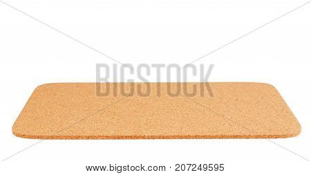 Cork mat with red border isolated on white background