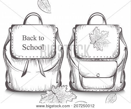 Schoolbags Banner Vector Line Art. Graphic Style Satchels