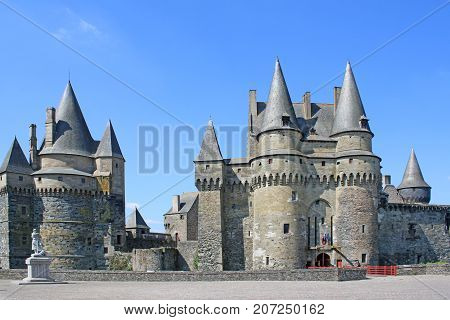 Gatehouse and towers of Vitre Castle, France