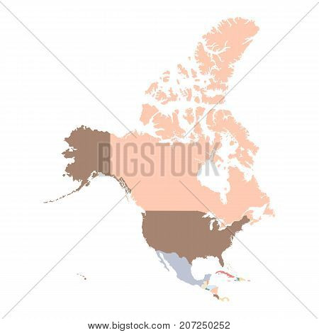 Color map of North America continent. Vector illustration