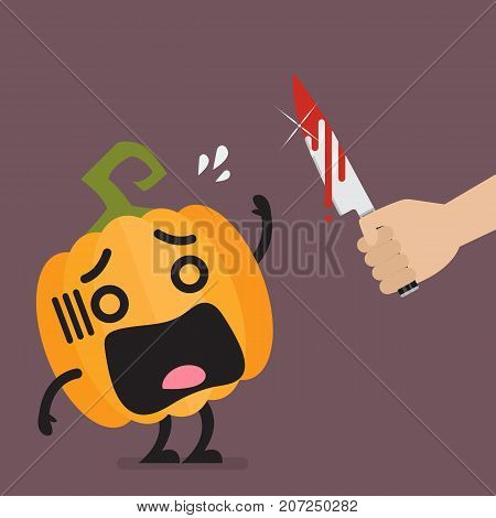 Hand with a knife prepare to cut the funny pumpkin character. Halloween concept Vector illustration