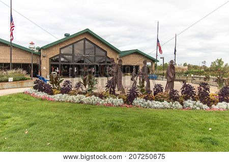 Clare, Michigan, USA - October 3, 2017: The Michigan Welcome Center in Clare, Michigan. Located on US 127, it is one of fourteen Welcome Center in the popular tourist state of Michigan.