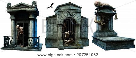 Crypts and gravestone with zombies 3D illustration