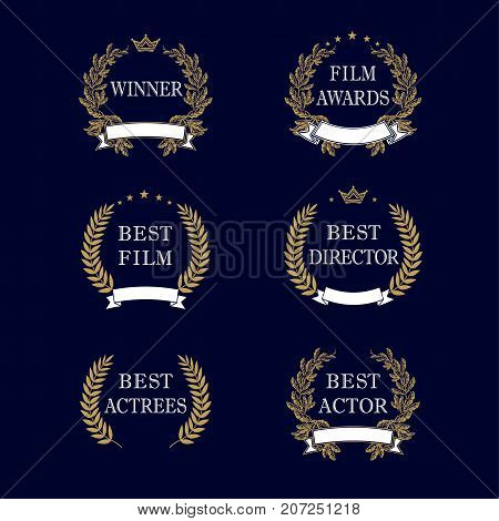 Best film award golden laurel emblem. Film awards and best nominee gold award wreaths on dark blue background. Isolated vintage winner elegant vector logo