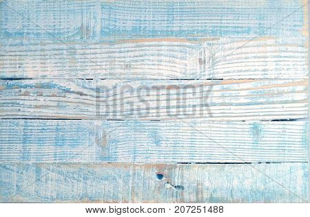 Shabby chic light blue background with old planks textured scratches and antique cracked paint for scrap-booking and decoupage. Vintage wooden tray. Rustic background
